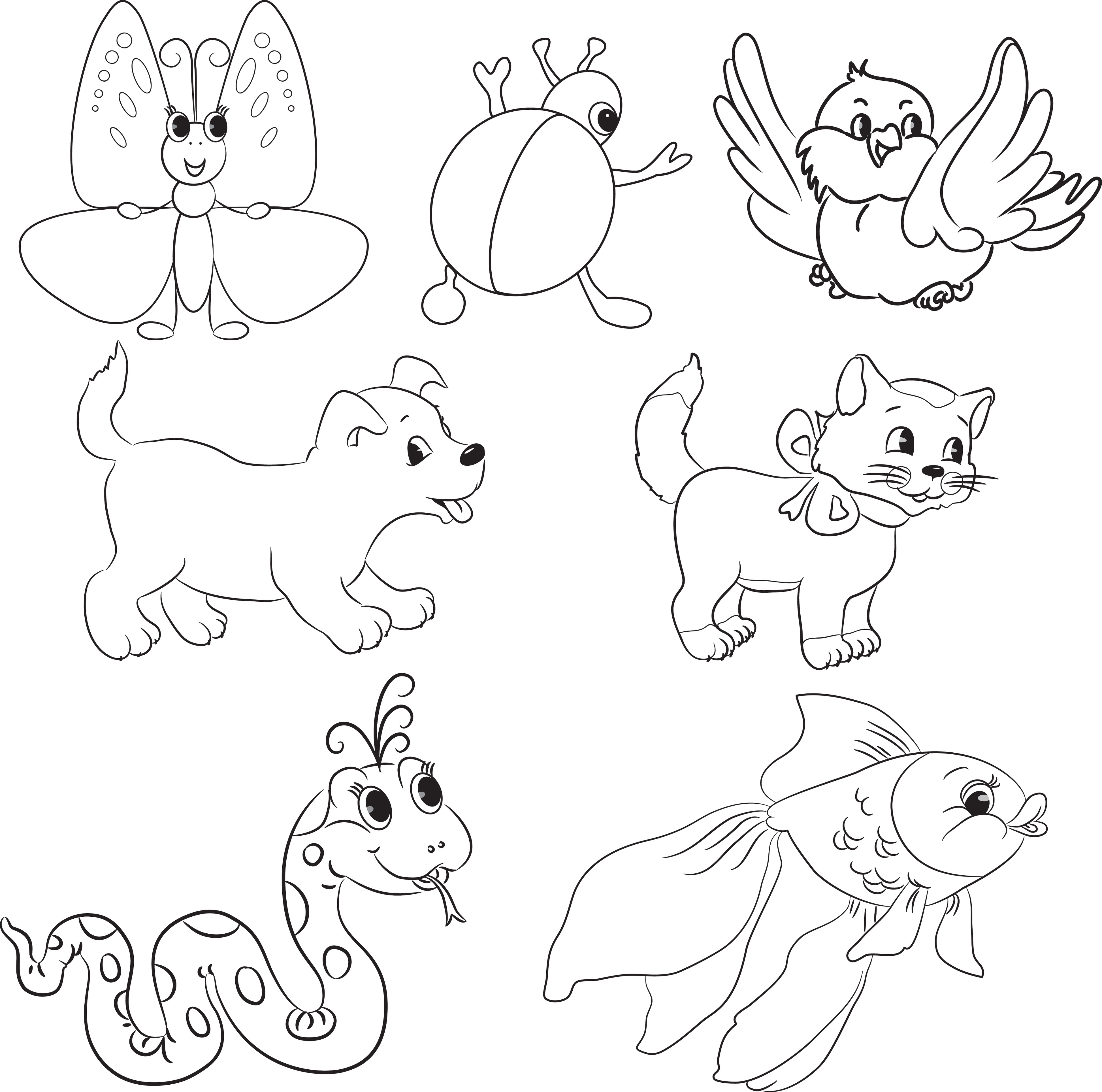 Vector Set Of Outlined Cartoon Animals Coloring Book