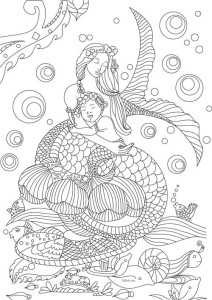 mermaid free coloring page