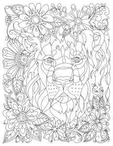 adult coloring page lion