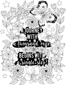 Lilt Kids Free Coloring Page: A Journey with a thousand miles begins with a single step!