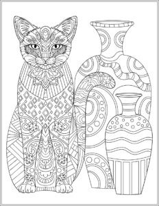 cat adult coloring page