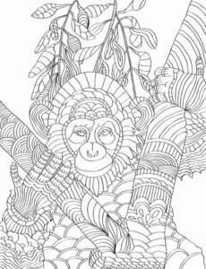 Animal Adult Coloring Book - Nature Patterns for Creativity and Calm - Chimpanzee